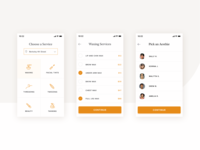 Beauty Services Booking App services iphone mobile beauty flow steps mustard design ux ui application app