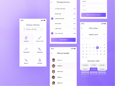Beauty Services Booking Application appointment calendar services beauty clean minimal mobile purple flow app design ux ui