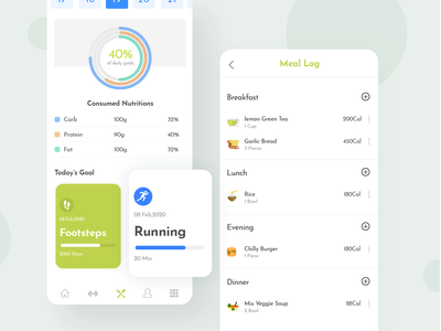 Food Dairy and Meal Tracking Page - Fitness App Concept