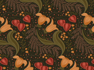Autumn flowers surface design wallpaper fabric yellow plant nature pattern