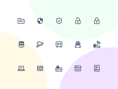 Jollycons - Privacy & Security - Icon Set passcode password protect vault security icons icon set rounded jollycons design system outline vector