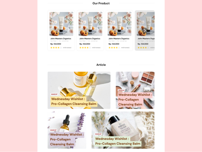 Product and Article Section Web Landing Site ui design beauty product webdesign