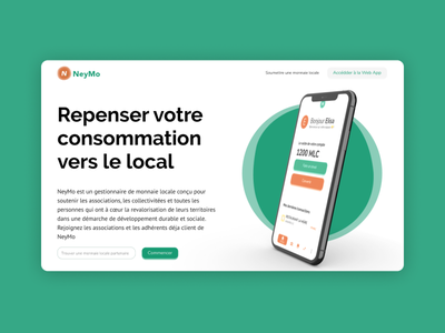 Neymo - Landing Page product services landing design society local concept money