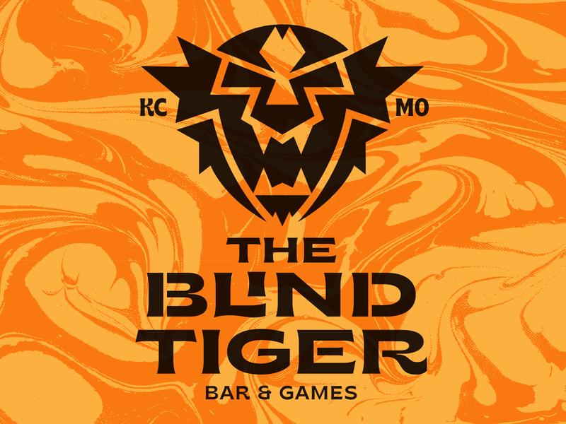 The Blind Tiger blind tiger tiger kansas city bar eye badge illustration mark icons branding brand logo icon