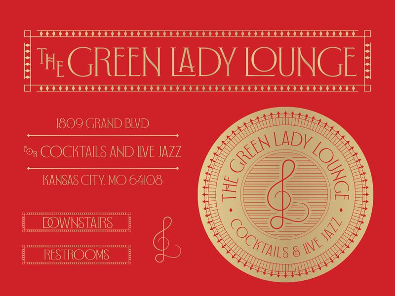 Green Lady Lounge typography art deco kc green lady bar jazz gold badge illustration mark icons branding brand logo icon