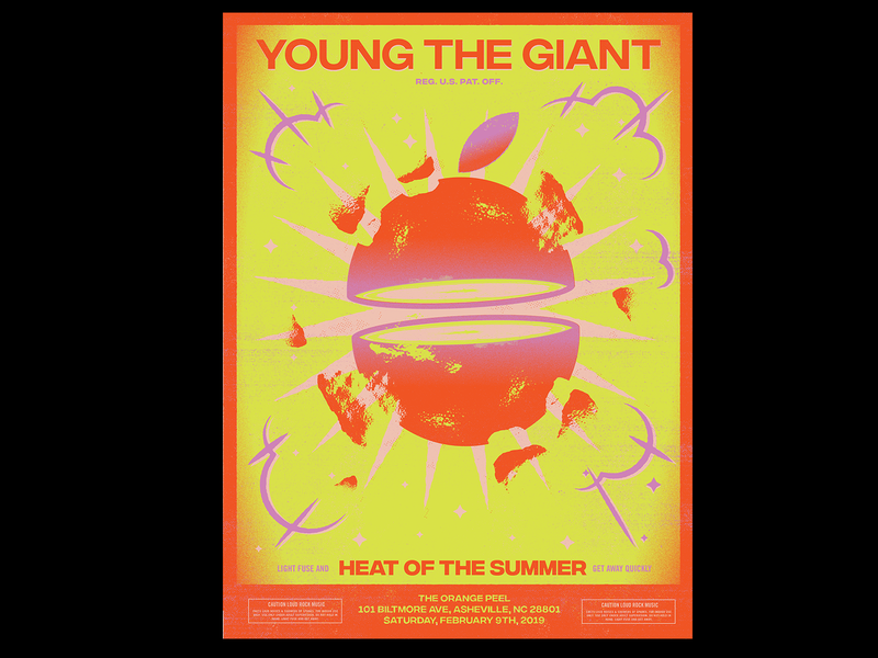 Young The Giant gig poster young the giant ytj firework orange design vector illustration posters poster