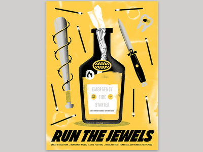 RTJ fire bat knife weapons texture design vector illustration gig posters gig poster rtj