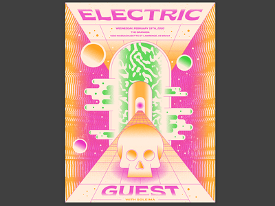 Electric Guest posters guest electric guest skull electric gig poster poster illustration icon