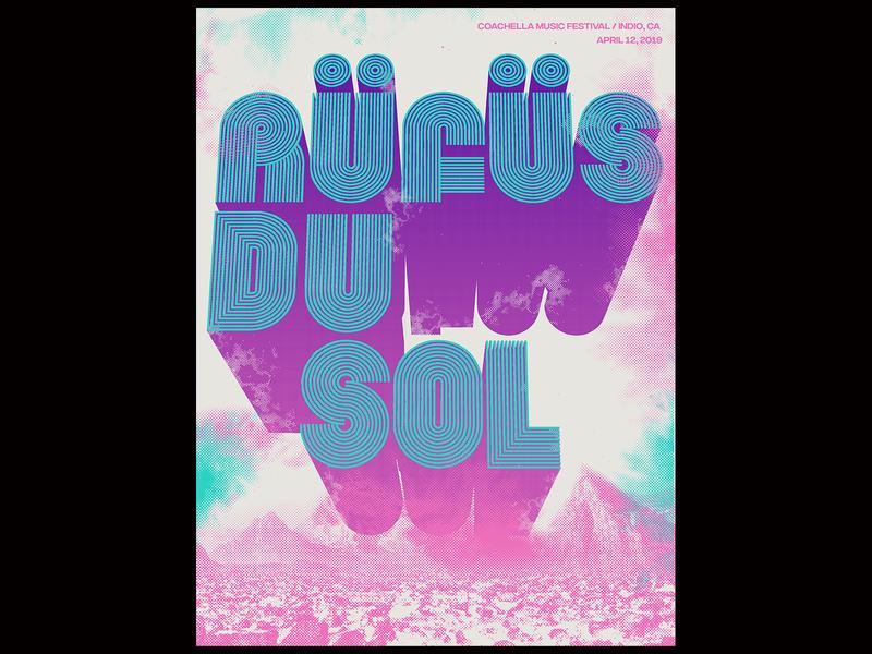 Rufus Du Sol posters halftones gig poster landscape type 3d typography design vector illustration