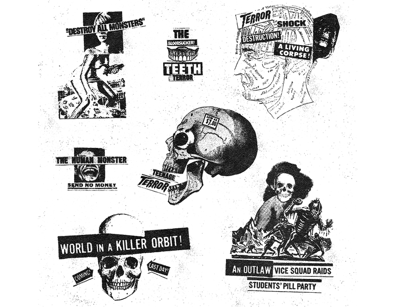 Collage Studies cut and paste skull design collages collage illustration