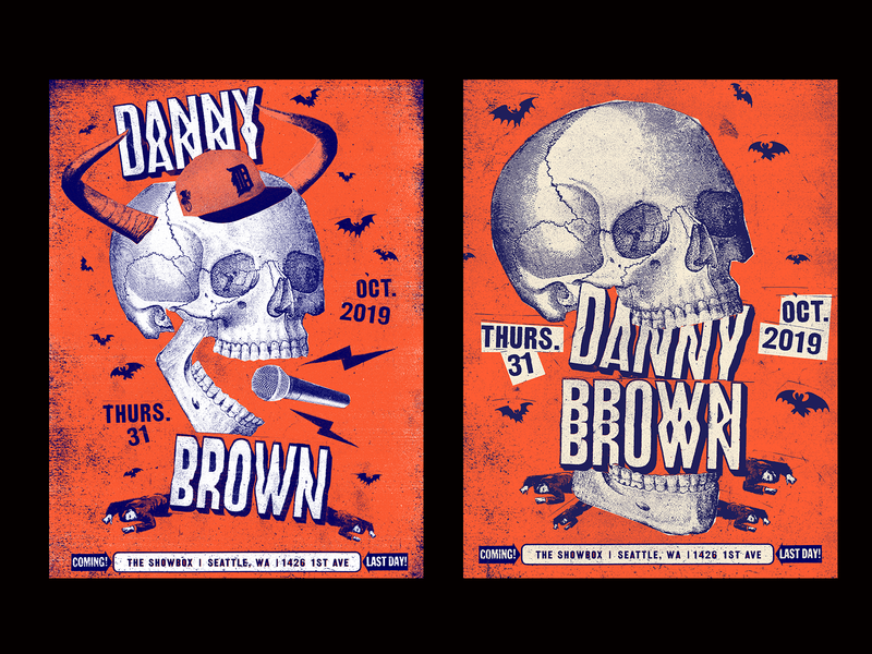 Danny Brown Poster Exploration skull halloween hip hop rap music gigposter collages collage illustration