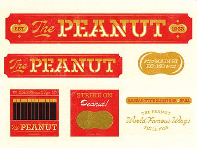 The Peanut wings bar kansas city kc the peanut peanut badge illustration mark icons branding brand logo icon