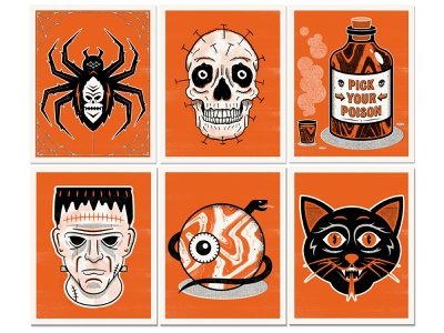 Halloween Prints october snake eye skull spooky poison spider frankenstein prints riso risograph haunts halloween design illustration print