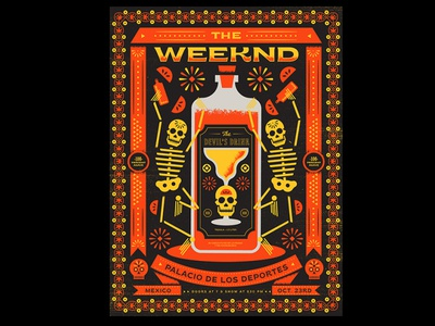The Weekend gig posters gig poster tequila day of the dead halloween skeleton skeletons poster art weekend poster illustration