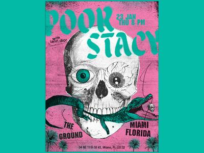 Poorstacy Poster miami gig posters gig poster aligator skull posters poorstacy poster design poster illustration