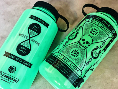 Fill Up Your Cup, Time's A Wasting... glow in the dark gift nalgene water time skull badge illustration icons branding brand