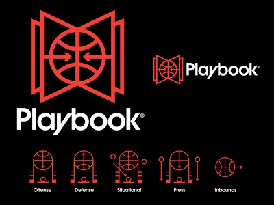 Playbook app branding app playbook basketball court basketball logo basketball vector monogram icons illustration branding logo brand icon