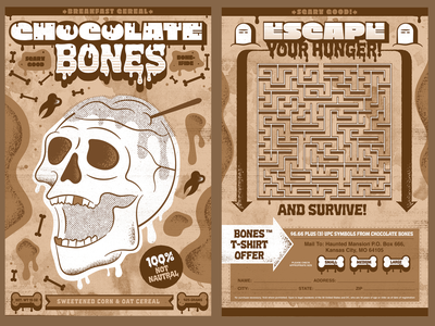 Chocolate Bones skeletons skeleton bones skull type packaging cereal box cereal illustration icon