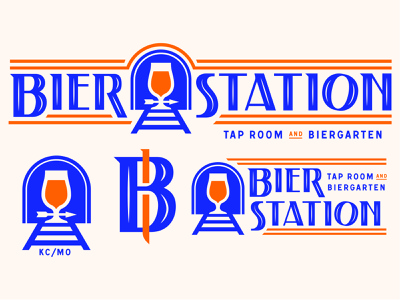 Bier Station kansas city kc badge mark illustration icons branding logo brand icon