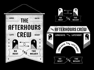 Afterhours Crew banner falg badge mark illustration icons branding brand logo icon