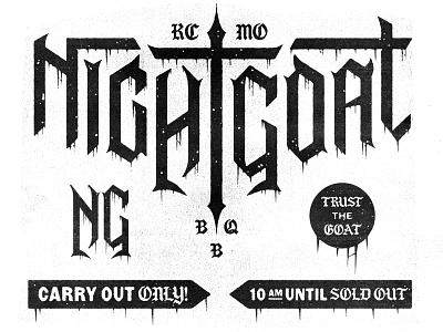 Night Goat BBQ illustration kansas city kc black metal typography type grunge metal goat bbq mark branding brand logo icon