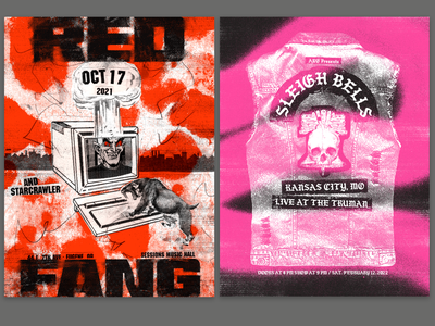 Poster Warm Up gig music sleigh bells grunge texture red fang gig poster poster illustration