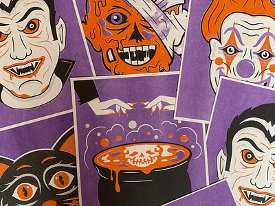 Tis' The Season print poster purple orange cauldron dracula clown halloween risograph riso illustration