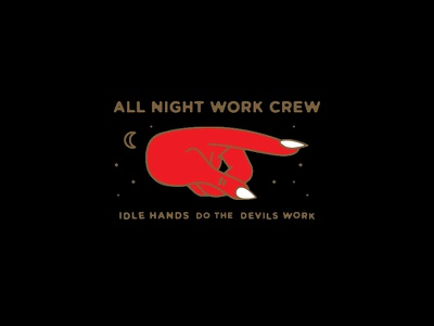All Night Work Crew work crew hands idle brand mark night hand devil icon branding logo
