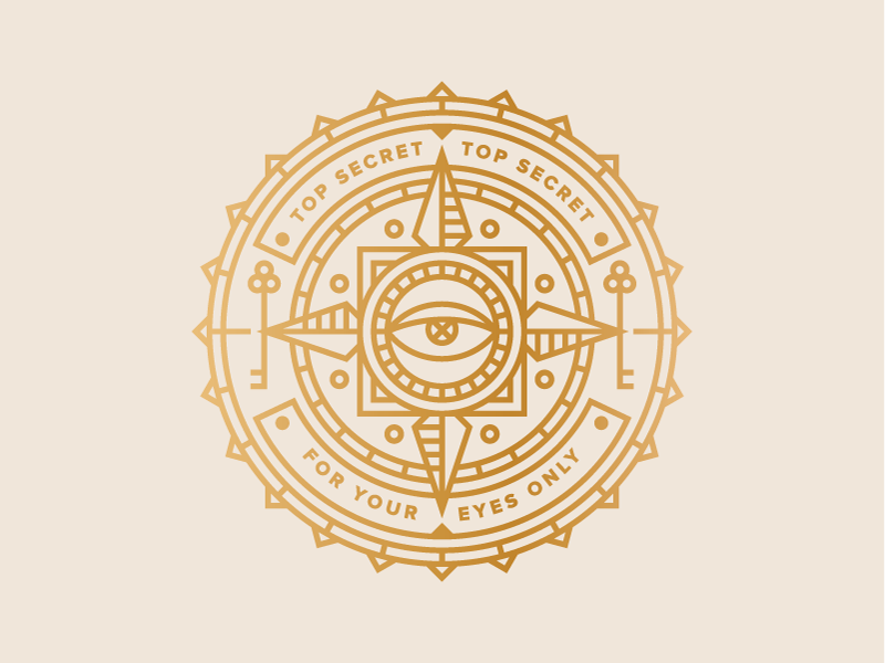 For your eyes only... seal lock key eye secret badge icon logo