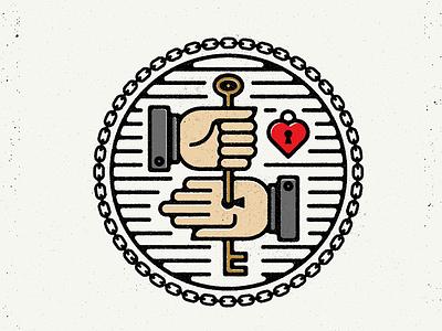 Locking Hands seal badge keys hand icons chain lock heart key hands icon logo
