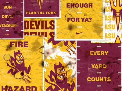 ASU Gameday Posters devils burnt fire sparky gameday posters asu