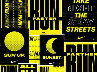 Nike Running Poster Concepts collage posters swoosh nike black yellow icon running run poster