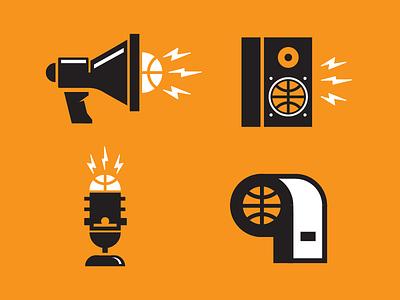 Basketball Podcast Icons noise orange microphone whistle speaker megaphone icon basketball icons logo