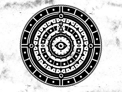 Clockwork Badge branding brand shield clocks clock chain eye icon badge logo