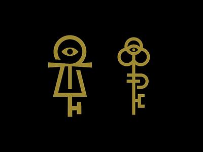 Key Exploration ankh eye key logos branding brand logo icon keys