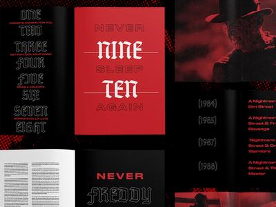 Nightmare on Elm Street Zine Sketches typography type freddy kruger nightmare on elm street freddy zine