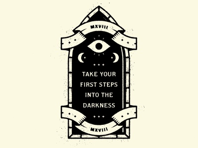 Step Into Darkness Badge secret society secret banner mystic darkness dark night eye window icon logo badge