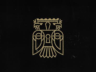 Two Kings Are Better Than One secret society secret seal bird key lock crown eagle branding brand icon logo