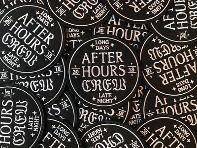 After Hours Patch patches emblem seal typography type badge patch