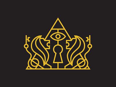 Secret Society Logo design gold society mystic badge eye key lion secret society branding brand icon mystery logo
