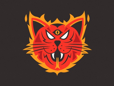 Hellcats flames flame cats fire hell cat cat eye illustration logo