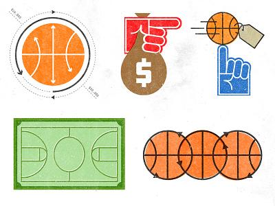 Basketball Money Icons illustrations money college basketball icons basketball court basketball illustration icon