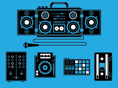 Music Icons boombox sounds dj microphone stereo speaker music icons icon