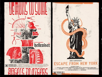 Alternative Movie Posters illustration experimental type collage posters escape from ny hellraiser movie poster