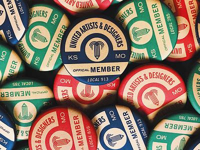 Kansas City United Artists and Designers pin missouri kansas kcmo kansas city union badge branding brand logo icon