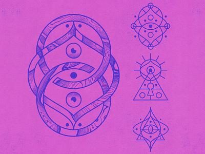 Alien Symbols symbols alien design illustration badge eye icons logo icon