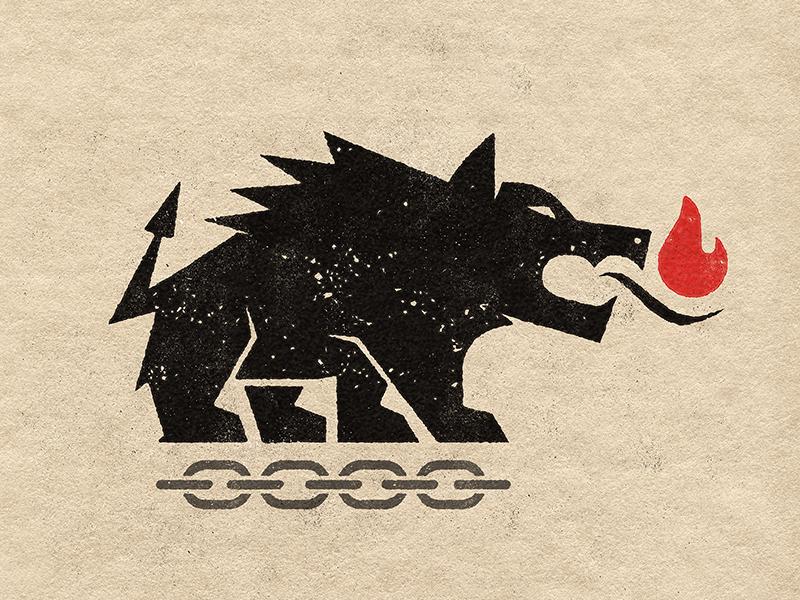 Hellhound chain hellhound dog flame fire hell hound illustration mark branding brand logo icon