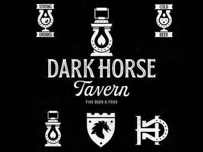Dark Horse Tavern beer tavern horseshoe glass lantern flame dark horse dark monogram illustration mark icon icons branding brand logo