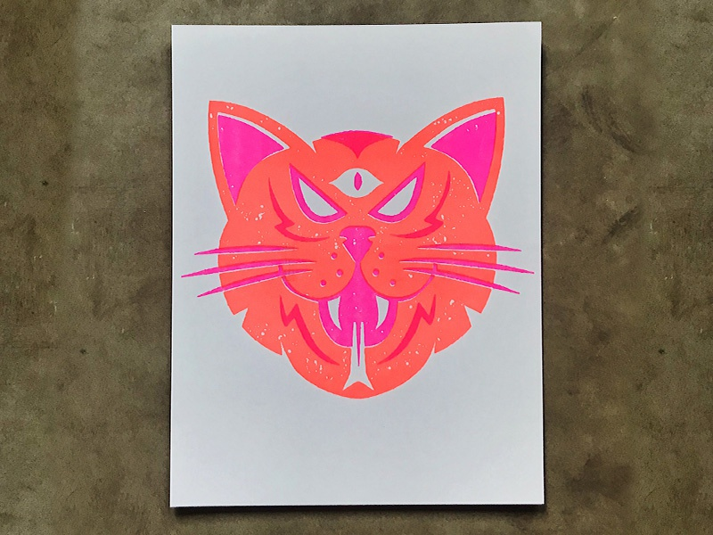 Cat Risograph pink orange neon risoprint risograph riso eye cat illustration icons icon