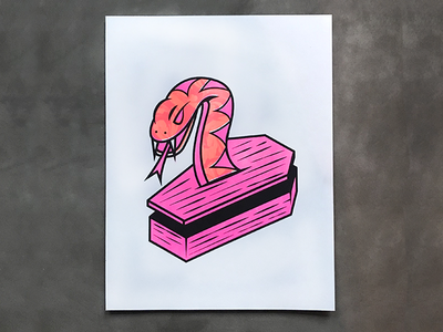Coffin Snake Risograph print neon orange pink coffin snake risoprint risograph riso snake coffin icon